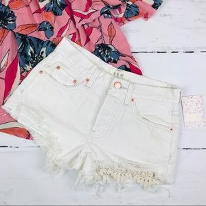Free People Distressed Daisy Chain Lace Shorts